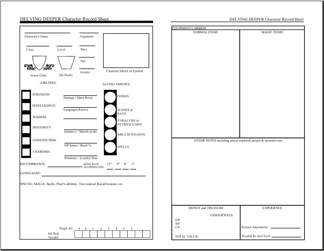 D D 5e Character Sheet Double Sided Printable: Delving Deeper Character Sheet