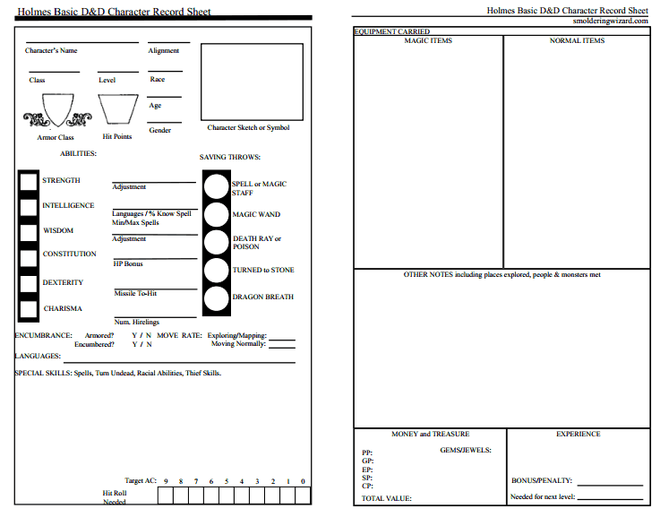 Holmes Basic D D And A New Character Sheet Smoldering Wizard