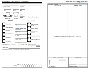 Holmes Basic D&D and a New Character Sheet | Smoldering Wizard