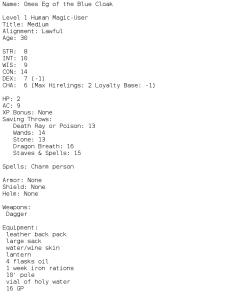 OD&D 3LBB Character Generator
